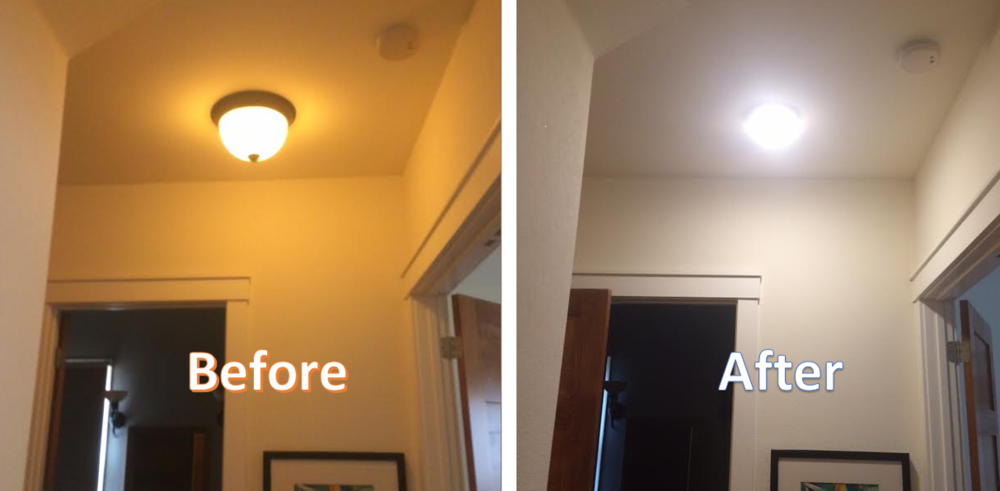 Here is an flush mount fixture that we replaced with a bulb-free LED fixture.   (Pictures taken with the same camera and no photo altering was performed.)