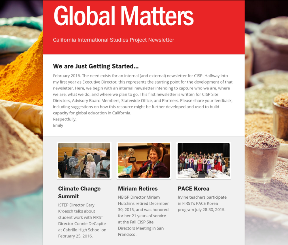 Global Matters, February 2016      Global Matters, November 2016