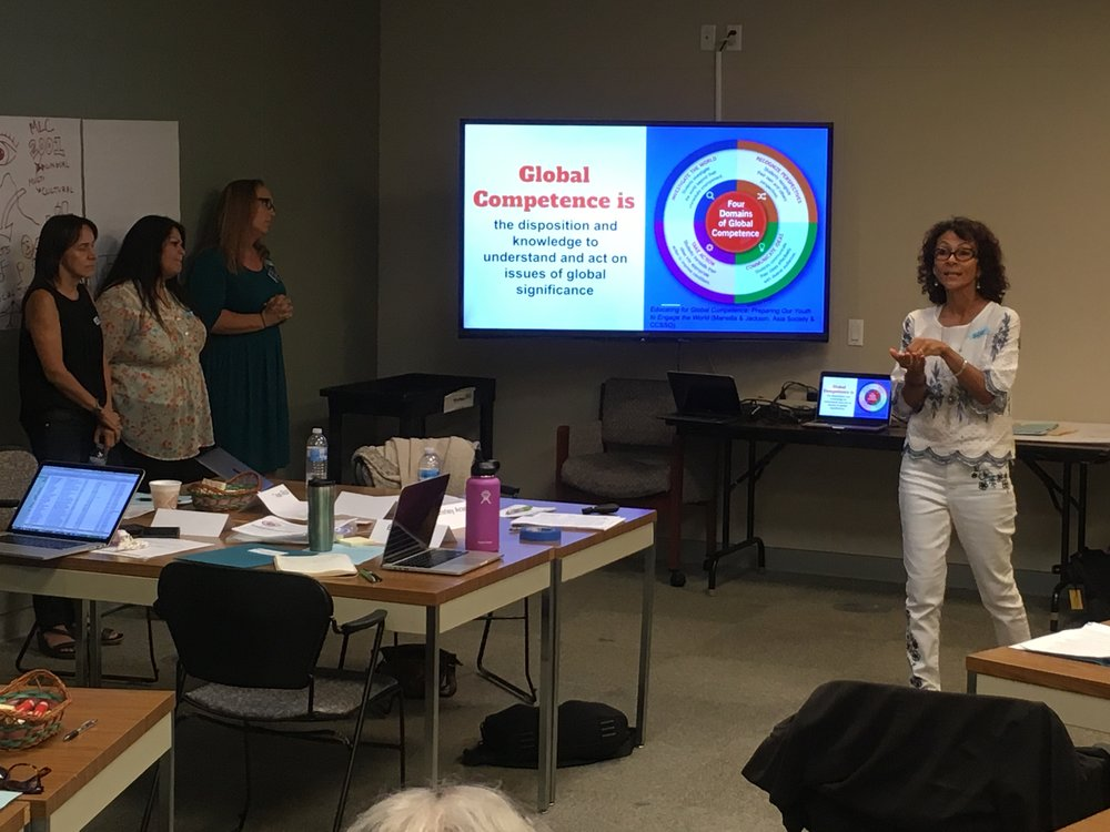 CGEP@CSU Long Beach Director Barbara Vallejo Doten leads educators in an exercise to deepen understandings of global competence.