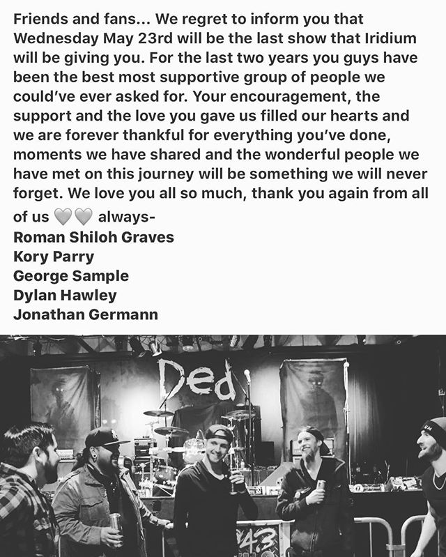 Thank you guys so much ❤️ #thanksforthememories #theend #rockband #almostfamous