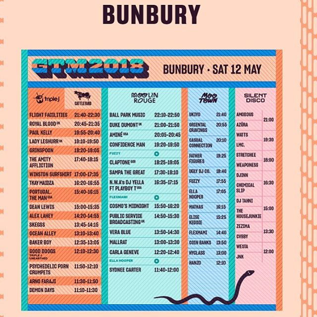 Bunbury! How good is this years GTM line up?! .. @margaretriverburgerco will be serving up some sweet burgs from 10:30 am - onwards. See ya there! 👋🏼👋🏼👋🏼