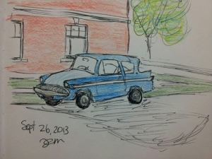 Little blue car sketch