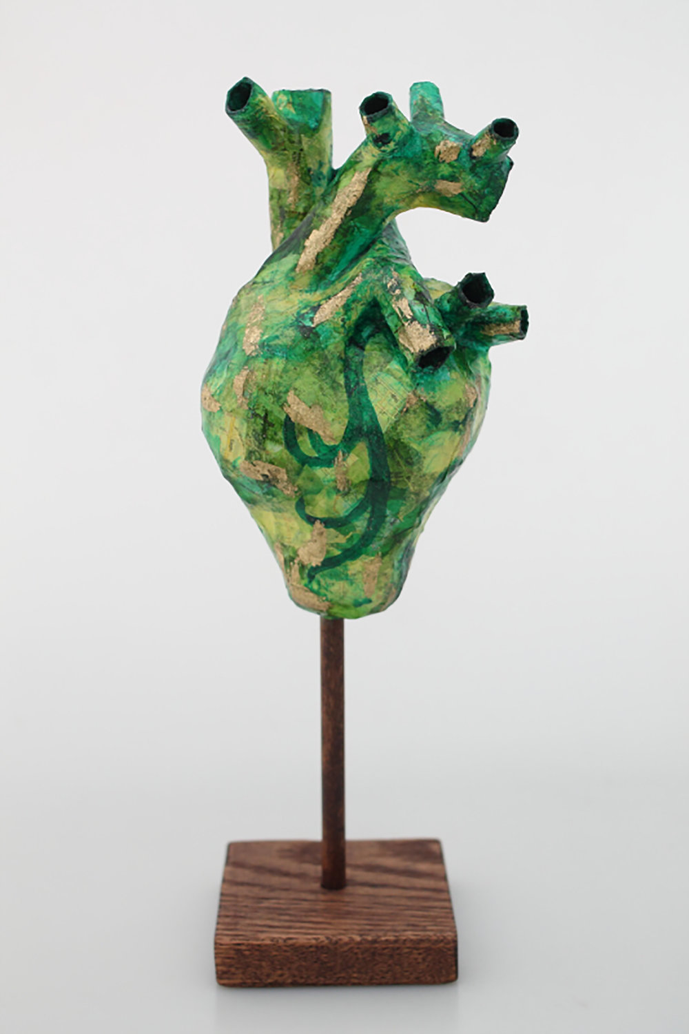 Proud Heart - Green  Papier maché and wood  10 x 4 x 3.5 inches  2015 - SOLD