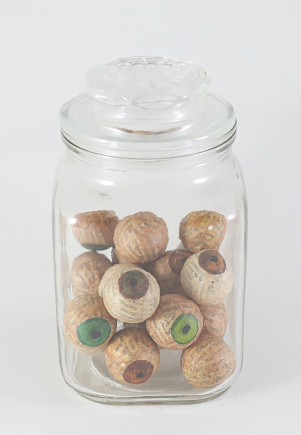 Collected Eyes - Small  Papier maché and glass jar  6 x 3.5 x 3.5 inches  2015