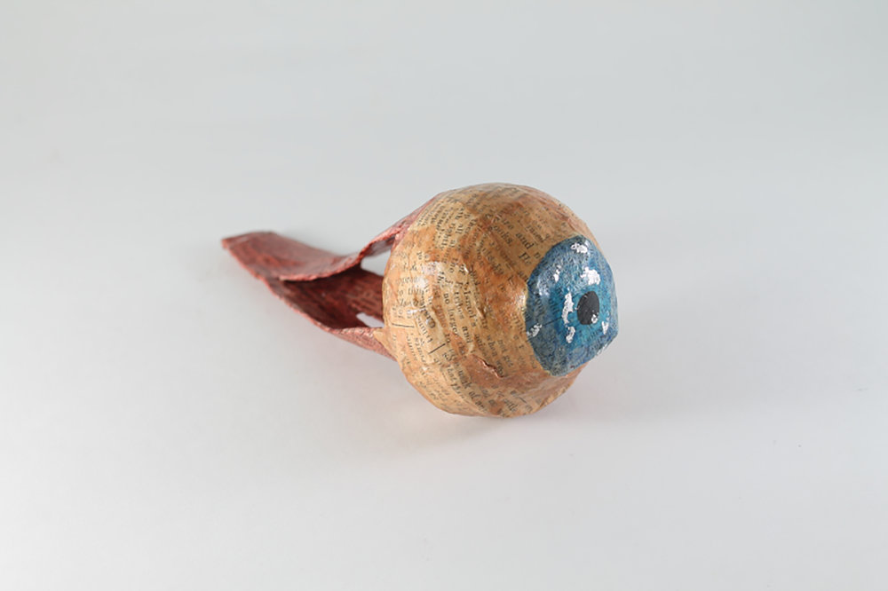 Oracle Eye - Large Blue  Papier maché  6.5 x 2.5 inches  2014