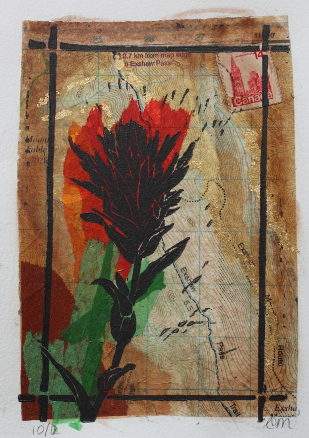 Indian Paintbrush  Linocut on tissue paper collage  5 x 7 inches  2015