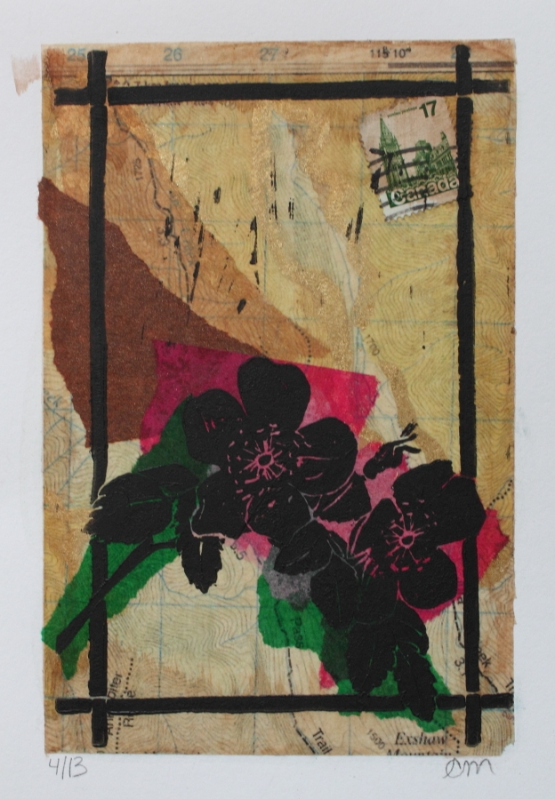 Wild Rose Linocut on tissue paper collage 5 x 7 inches 2015