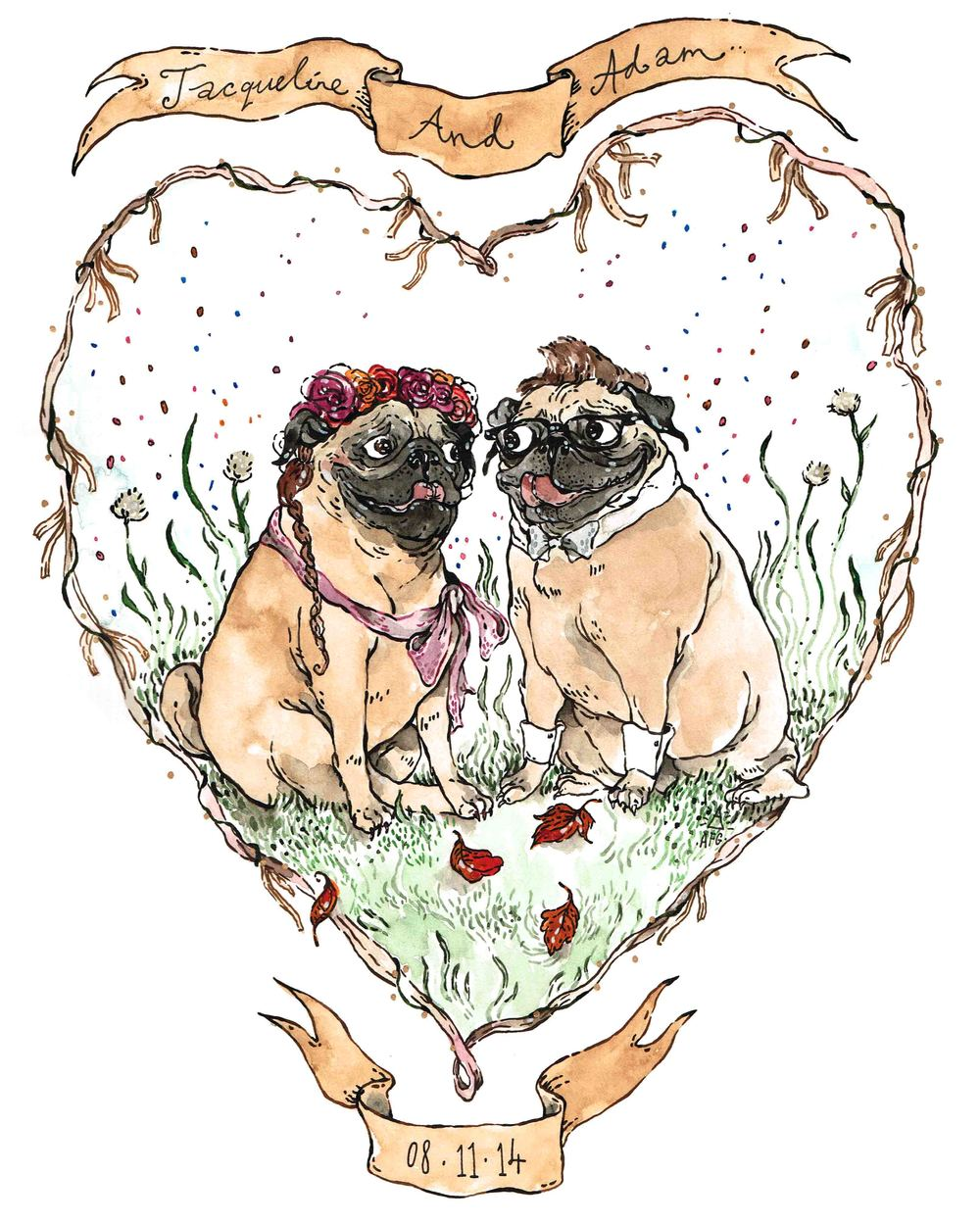 Pug Wedding Portrait, 2015