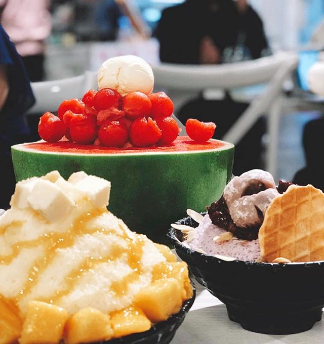 We're feeling the summer vibes at Passion Tree! It's Bingsoo time 😍 | Watermelon #Bingsoo + Mango Bingsoo + Taro Bingsoo | 📸: @foodforbek | #passiontree #thesweetspot