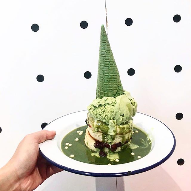 Our #Matcha #Mochi #Pancake #Stack: Hotcakes layered with red bean and cream, topped with chewy mochi, matcha icecream and drizzled with our special matcha sauce | 📷: @cthyxo | #passiontree #thesweetspot