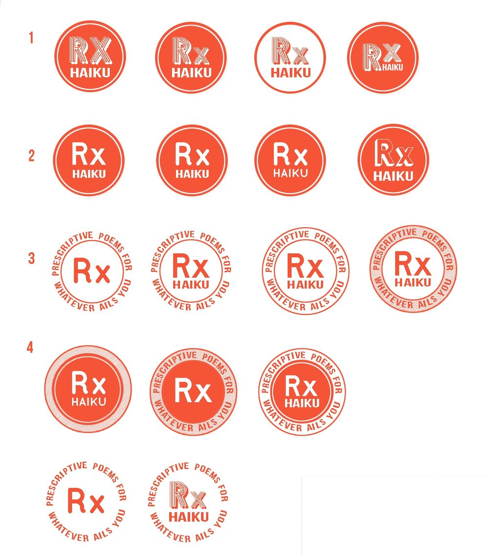 Logo concepts for  Rx Haiku,  an art installation project by Michelle Fiordaliso.