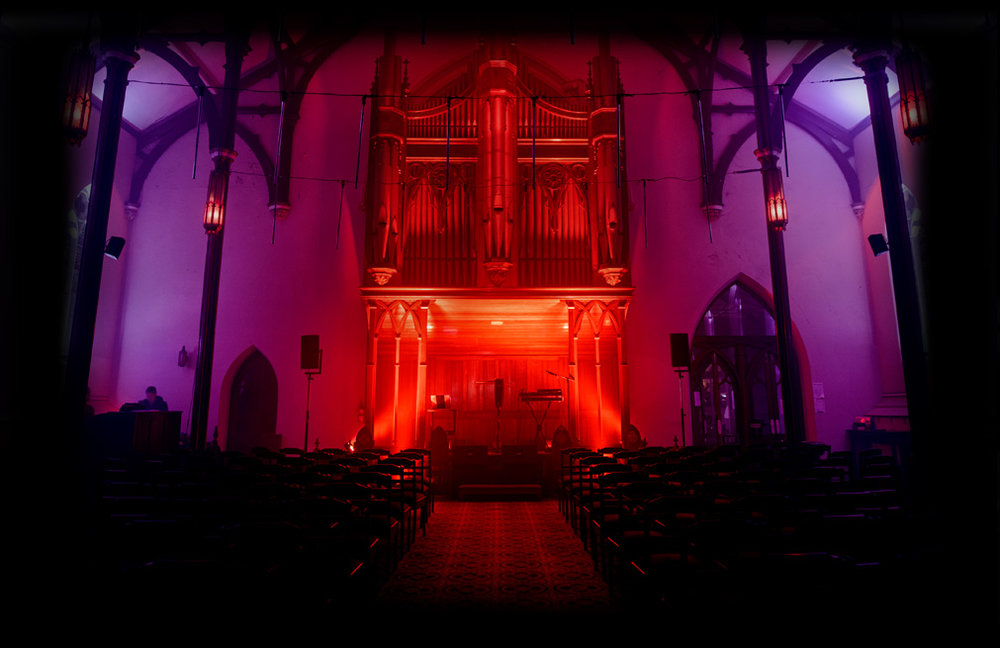+ Pilgrim Uniting Church, lit by House of Vnholy. Photo Credit: Dark Mofo/Lusy Productions, 2017. Image Courtesy Dark Mofo, Hobart, Tasmania, Australia