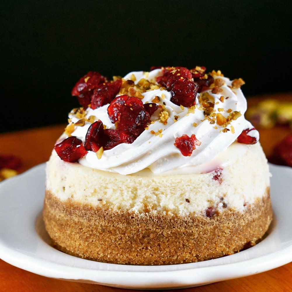 Cranberry Pistachio Cheesecake