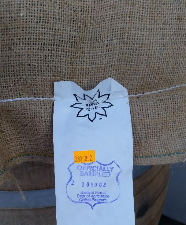 The Hawaii USDA 100% Kona coffee seal.