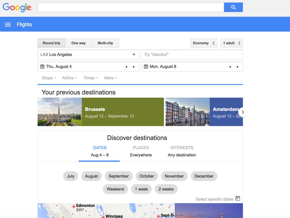Airfare search: Google Flights
