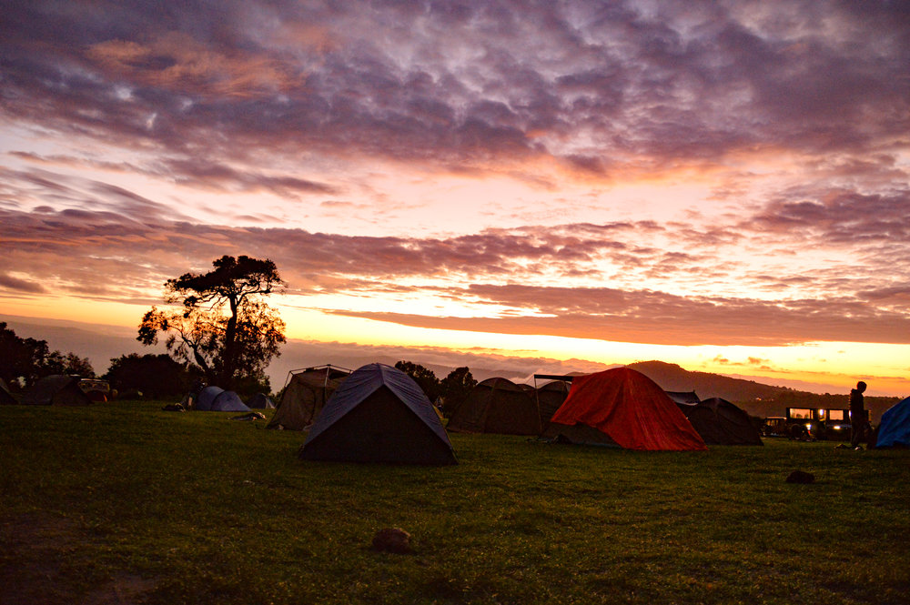 Sunrise over camp
