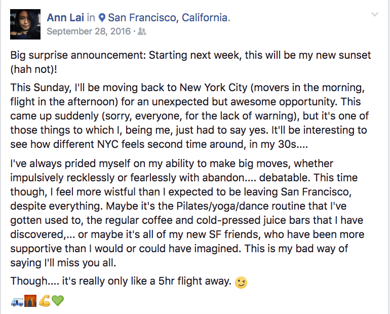 Surprise! Ann moves to NYC.