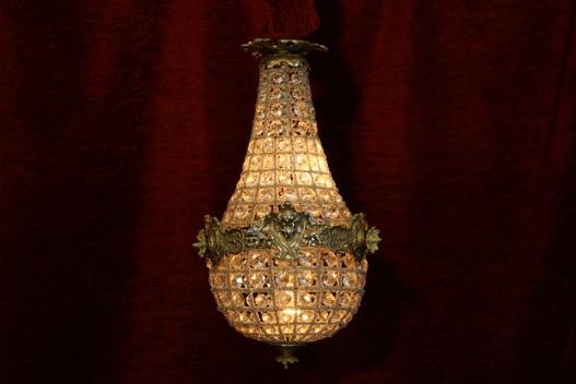 Renaissance Antique Dublin Ireland Brass and glass chandelier