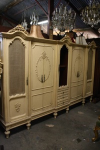 Renaissance Antiques Dublin Ireland  OLD PAINTED CREAM WARDROBE