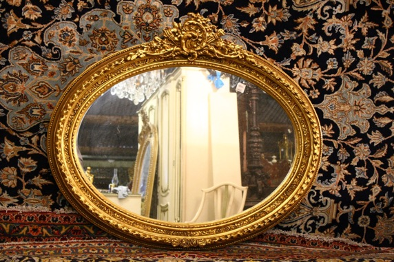 Renaissance Antique Dublin Ireland GOLD OVAL MIRROR