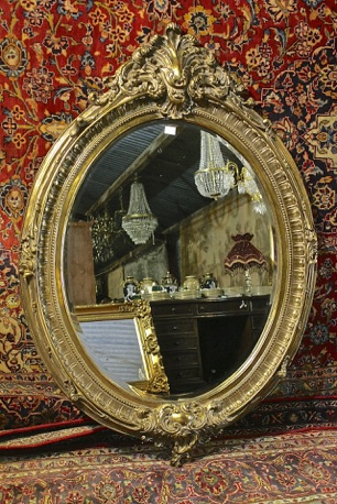 Renaissance Antique Dublin Ireland DULL GOLD OVAL MIRROR