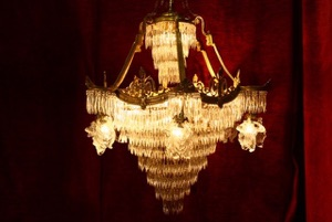 Renaissance Antique Dublin Ireland VERY LARGE SPIKED DROPPED CHANDELIER