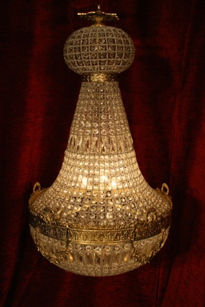 Renaissance Antique Dublin Ireland LARGE BRASS AND GLASS CHANDELIER
