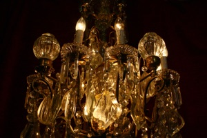 Renaissance Antique Dublin Ireland ANTIQUE BRASS AND CRYSTAL CHANDELIER