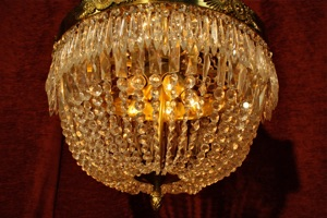 NICE QUALITY STRINGED CRYSTALS CHANDELIER RENAISSANCE - Orange chandelier crystals