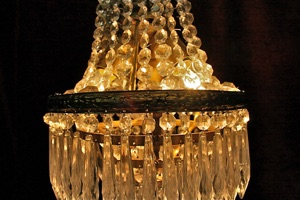 Renaissance Antique Dublin Ireland SPIKED DROPPED SMALL BEADED CHANDELIER