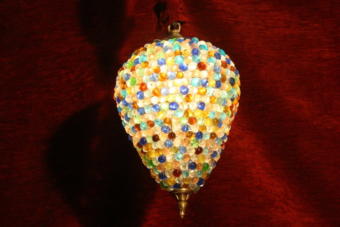 Renaissance Antique Dublin Ireland HEAVY BEADED COLOURED GLASS LIGHT