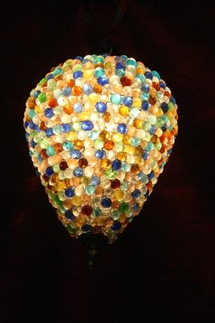 Renaissance Antique Dublin Ireland HEAVY BEADED COLOURED GLASS LIGHT