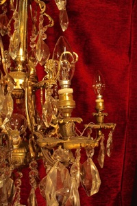 Renaissance Antique Dublin Ireland HEAVY SMALL BRASS AND CRYSTAL CHANDELIER