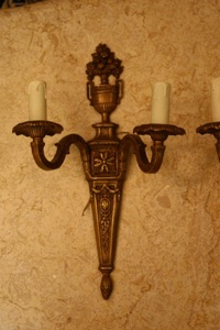 Renaissance Antique Dublin Ireland PAIR BRASS WALL LIGHTS