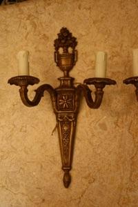 Renaissance Antique Dublin Ireland PAIR BRASS WALL LIGHTS