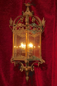 Renaissance Antique Dublin LARGE BRASS BEVELED GLASS LANTERN