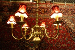 Renaissance Antique Dublin Ireland HEAVY SOLD BRASS FLEMISH STYLE CHANDELIER