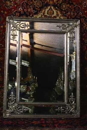 Renaissance Antique Dublin Ireland MEDIUM SILVER DOUBLE FRAMED MIRROR