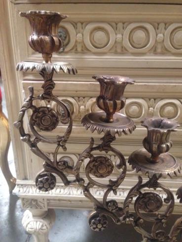 Renaissance Antique Dublin Ireland 7 piece brass candelabra