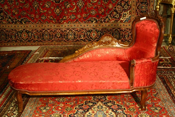 Renaissance Antiques Dublin Ireland Carved wood chaise longue with red material