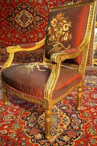 Renaissance Antiques Dublin Ireland Gilt salon chairs probably from the 1930's