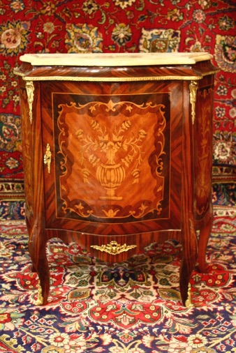Renaissance Antique Dublin Ireland Medium sized inlaid cabinet with marble top