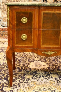 Renaissance Antique Dublin Ireland Marble topped sideboard table with inlay and brass mounts