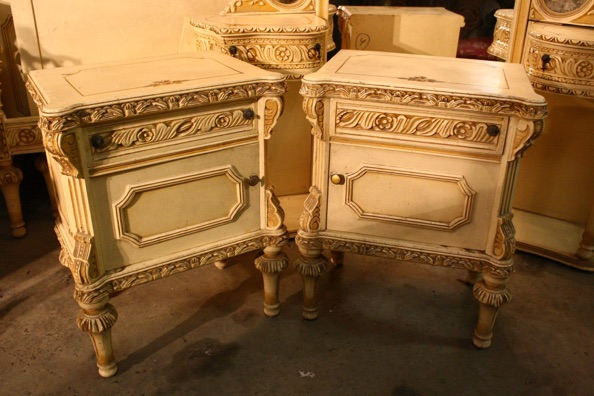 Renaissance Antiques Dublin Ireland Old painted white/cream pair of lockers