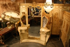 Renaissance Antiques Dublin Ireland Old white/cream full length mirrored dressing table
