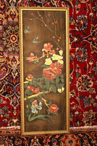 Renaissance Antique Dublin Ireland Pair of old Asian silk prints