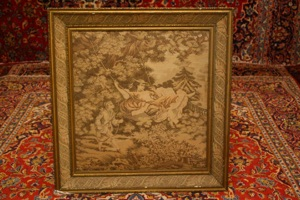 Renaissance Antique Dublin Ireland Tapestry of a girl on a a swing