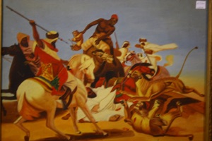Renaissance Antique Dublin Ireland AFRICAN HUNT PAINTING