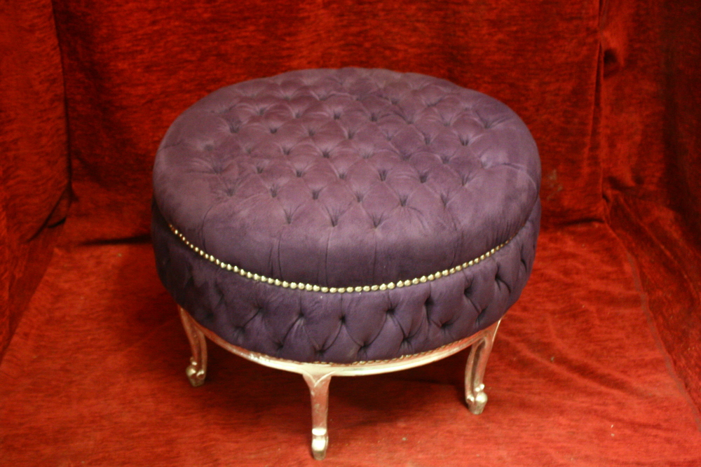 Renaissance Antique Dublin Ireland Purple poof with silver wood frame