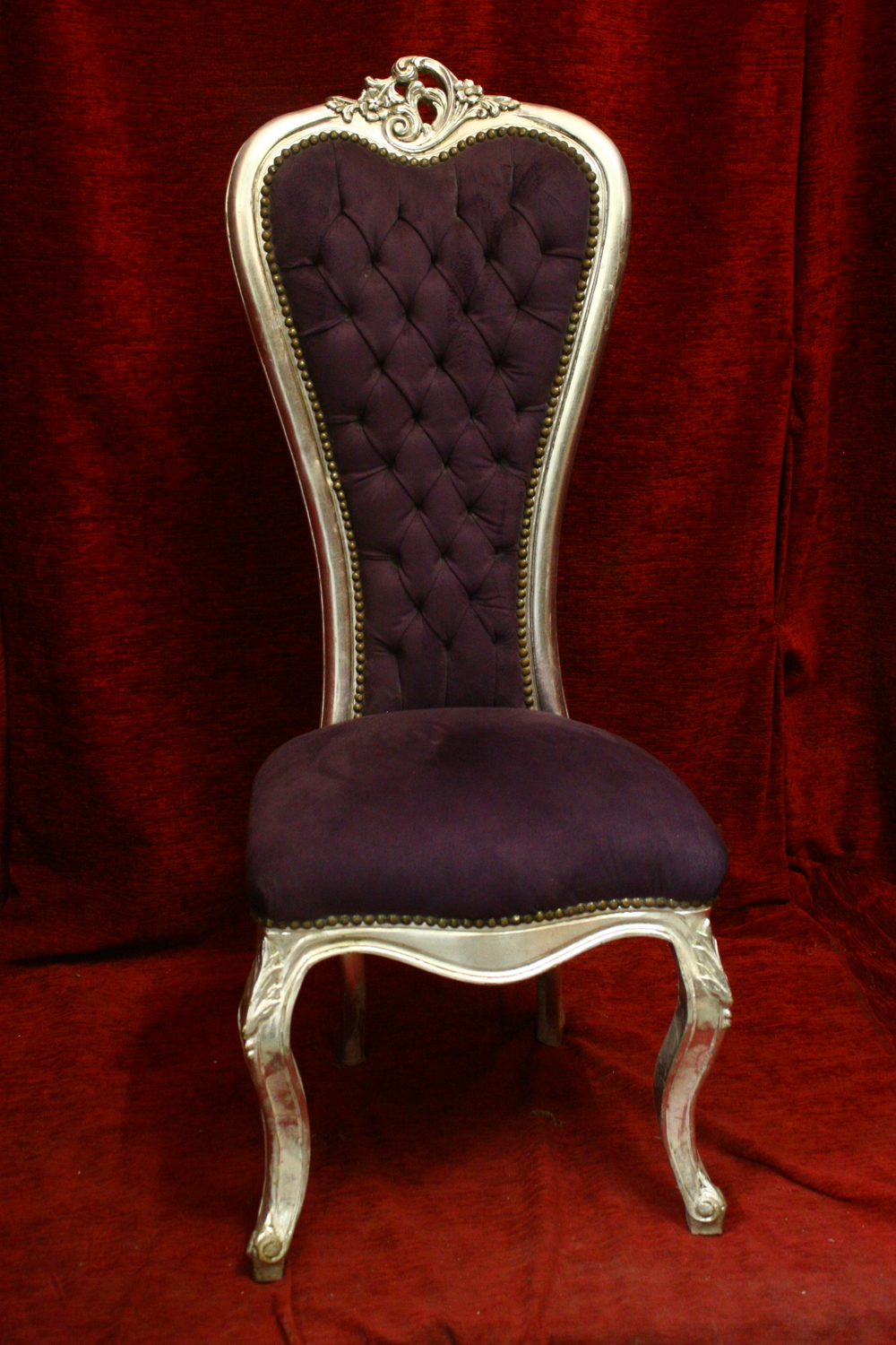 Renaissance Antique Dublin Ireland MODERN TALL BACKED SILVER FRAMED CHAIR